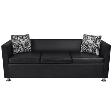 Artificial Leather 3-Seater Sofa Black[3/5]