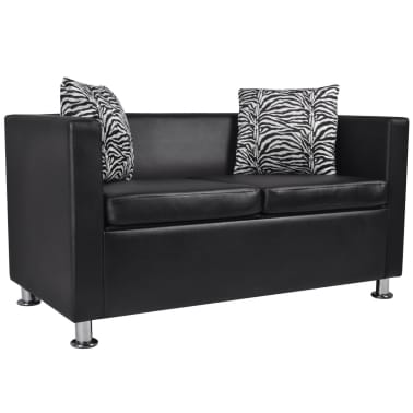Beau VidaXL Sofa 2 Seater Artificial Leather Black[1/5]