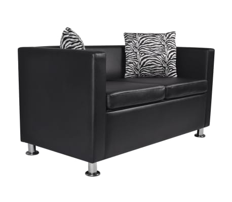 vidaXL Sofa 2-Seater Artificial Leather Black[2/5]