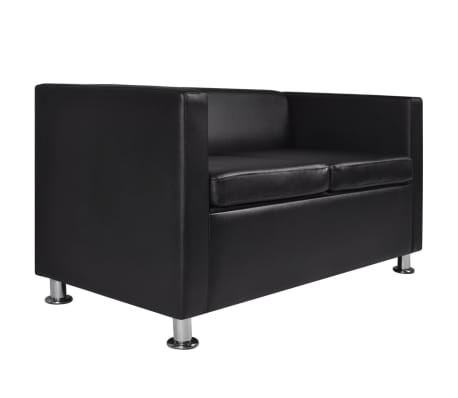 vidaXL Sofa 2-Seater Artificial Leather Black[4/5]