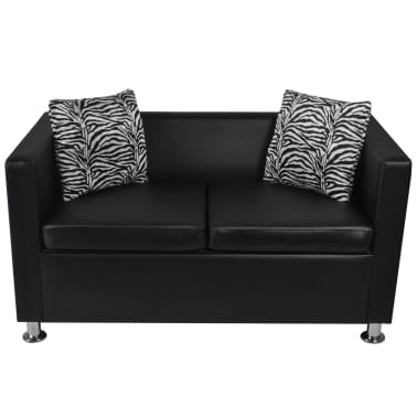 vidaXL Sofa 2-Seater Artificial Leather Black[3/5]