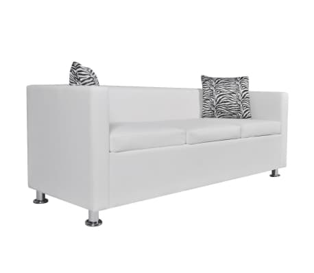 vidaXL Sofa 3-Seater Artificial Leather White[2/5]
