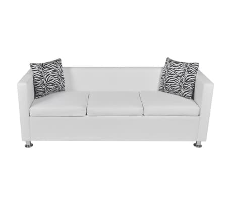 vidaXL Sofa 3-Seater Artificial Leather White[3/5]