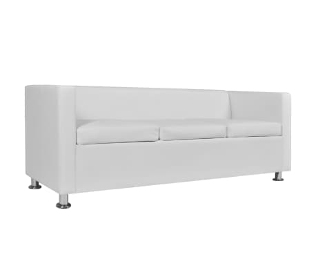 vidaXL Sofa 3-Seater Artificial Leather White[4/5]