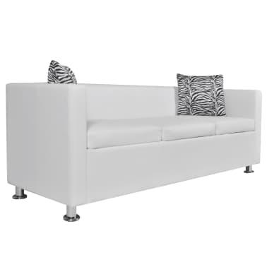 vidaXL Sofa 3-Seater Artificial Leather White[2/5]