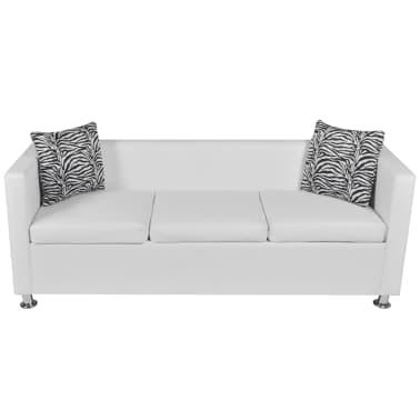vidaXL Sofa 3-Seater Artificial Leather White[3/5]