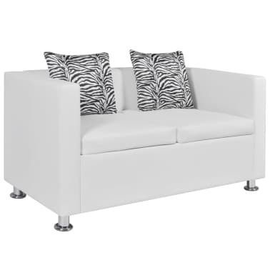 vidaXL Sofa 2-Seater Artificial Leather White[1/5]