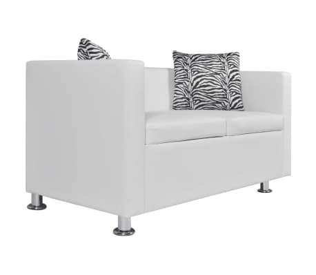 vidaXL Sofa 2-Seater Artificial Leather White[2/5]