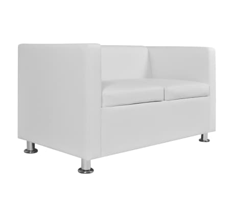 vidaXL Sofa 2-Seater Artificial Leather White[4/5]