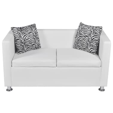 vidaXL Sofa 2-Seater Artificial Leather White[3/5]