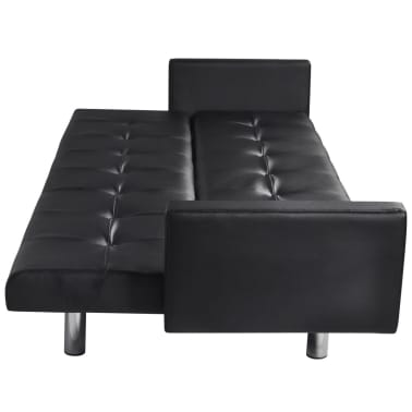vidaXL Sofa Bed with Armrest Black Artificial Leather[4/5]