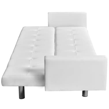 vidaXL Sofa Bed with Armrest White Artificial Leather[3/5]