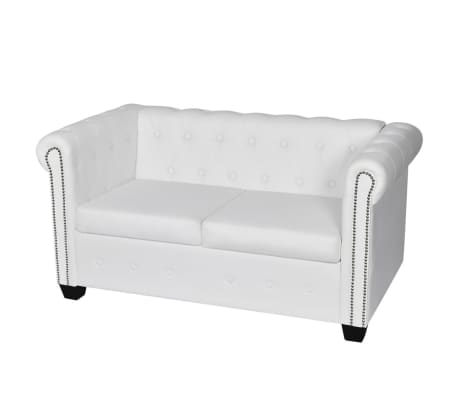 vidaXL Chesterfield 2-Seater Artificial Leather White[1/4]