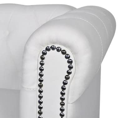 vidaXL Chesterfield 2-Seater Artificial Leather White[3/4]