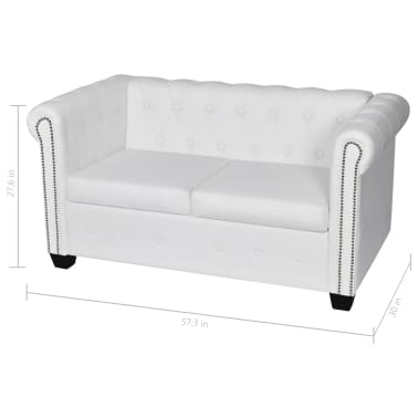 vidaXL Chesterfield 2-Seater Artificial Leather White[5/5]