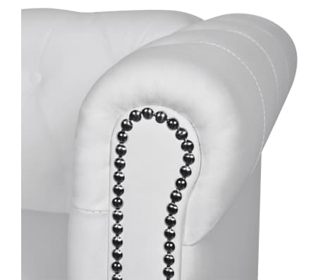 vidaXL Chesterfield 3-Seater Artificial Leather White[3/4]