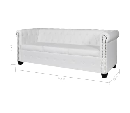 vidaXL Chesterfield 3-Seater Artificial Leather White[5/5]