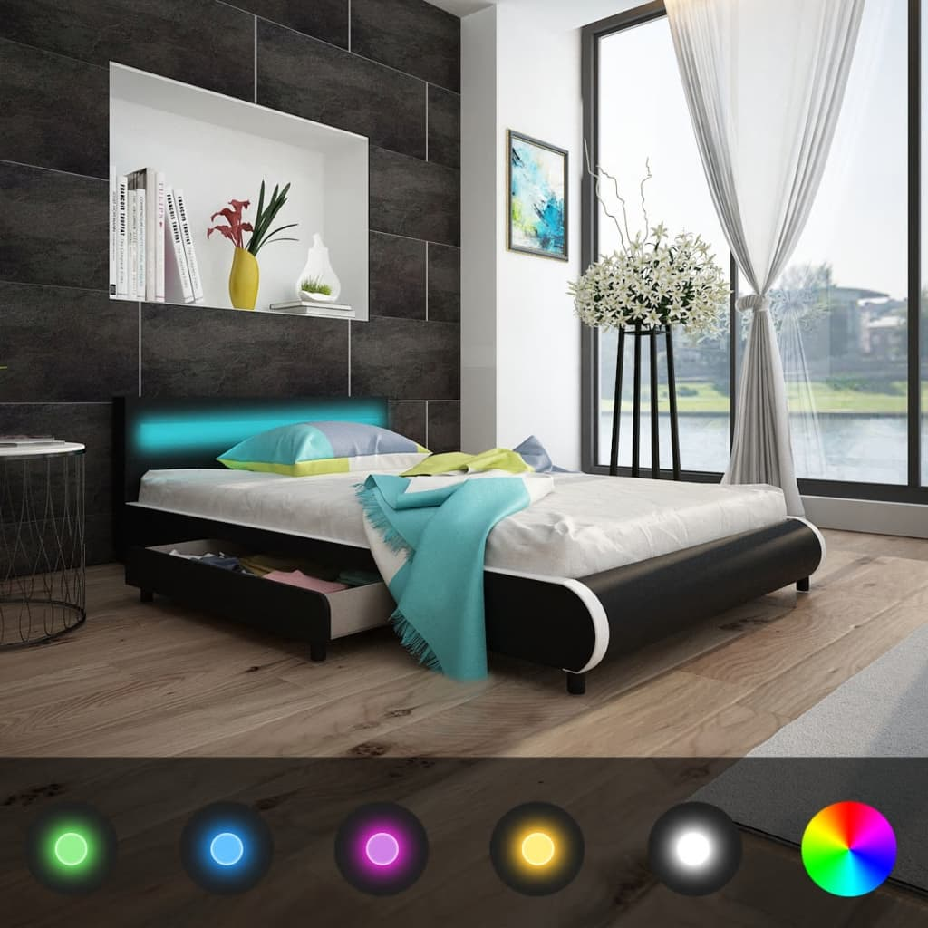 vidaXL Κρεβάτι με LED στο Κεφαλάρι 140 εκ. Δερματίνη + Στρώμα Αφρού Μνήμης