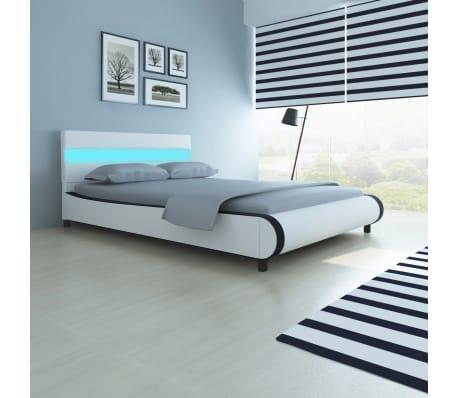 vidaXL Lova su čiuž. Memory LED, baltos sp., 140x200cm, dirbtinė oda[1/14]