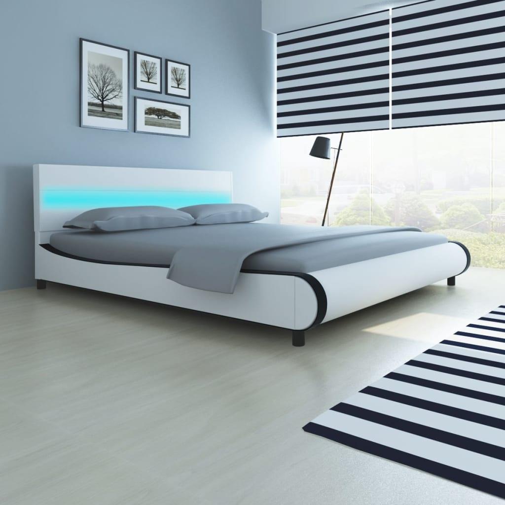 vidaXL Κρεβάτι με Ταινία LED στο Κεφαλάρι 180 εκ. + Στρώμα Λευκό