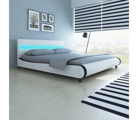 acheter vidaxl lit avec t te de lit et lumi re led 180 cm et matelas pas cher. Black Bedroom Furniture Sets. Home Design Ideas
