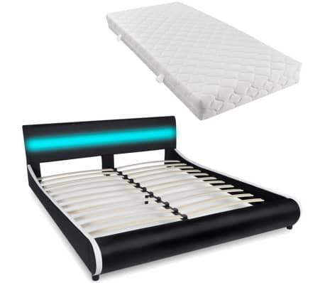 lit 180 cm avec t te de lit led cuir artificiel matelas. Black Bedroom Furniture Sets. Home Design Ideas