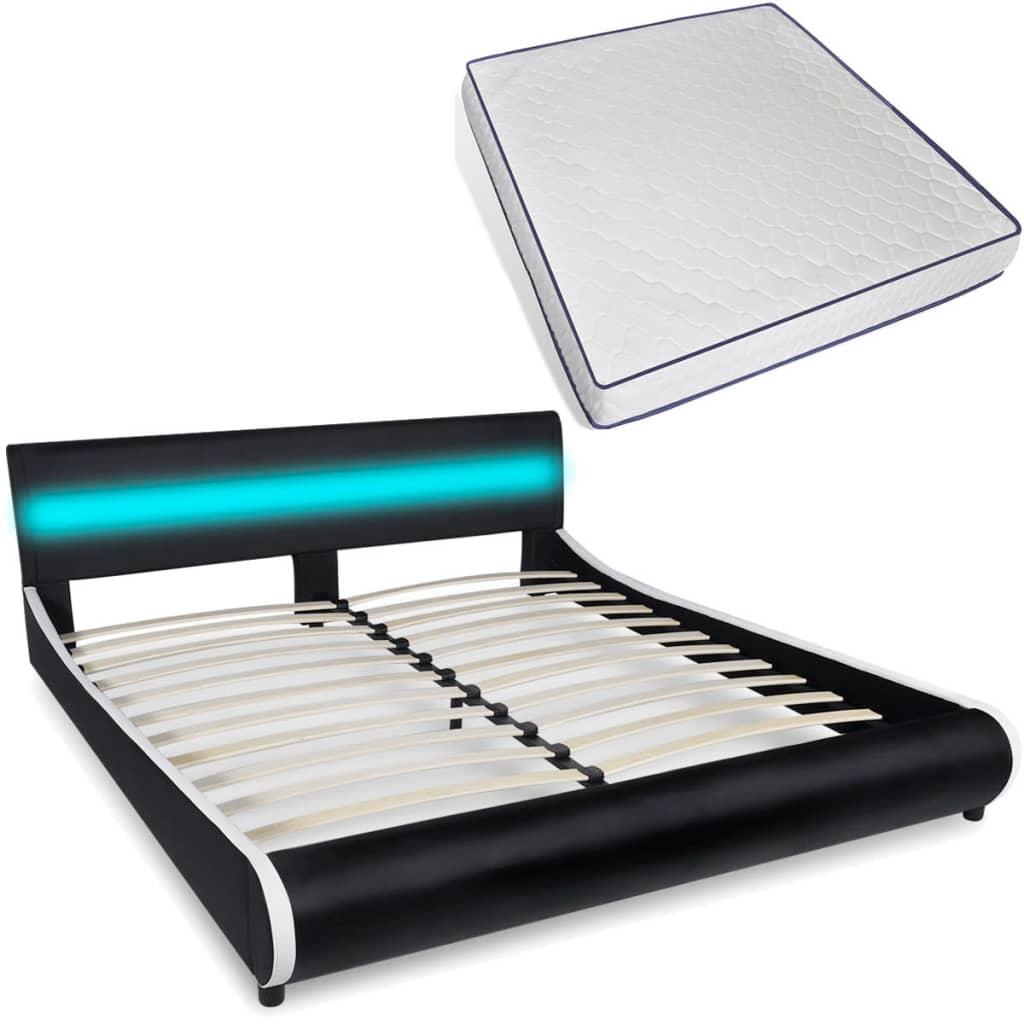 Κρεβάτι με LED στο Κεφαλάρι 180 εκ. Δερματίνη + Στρώμα Αφρού Μνήμης