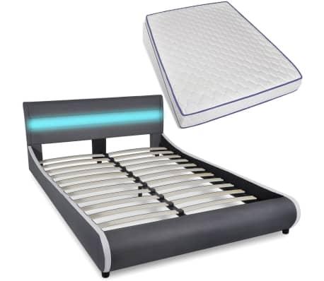 kunstlederbett mit led streifen am kopfteil memory matratze 140 cm g nstig kaufen. Black Bedroom Furniture Sets. Home Design Ideas