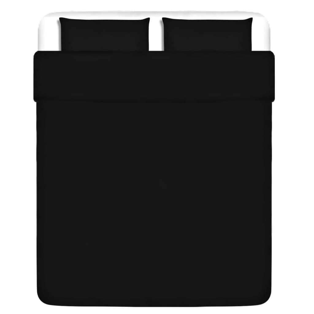 vidaXL Třídílná bavlněná sada povlečení černá 200x200/80x80 cm
