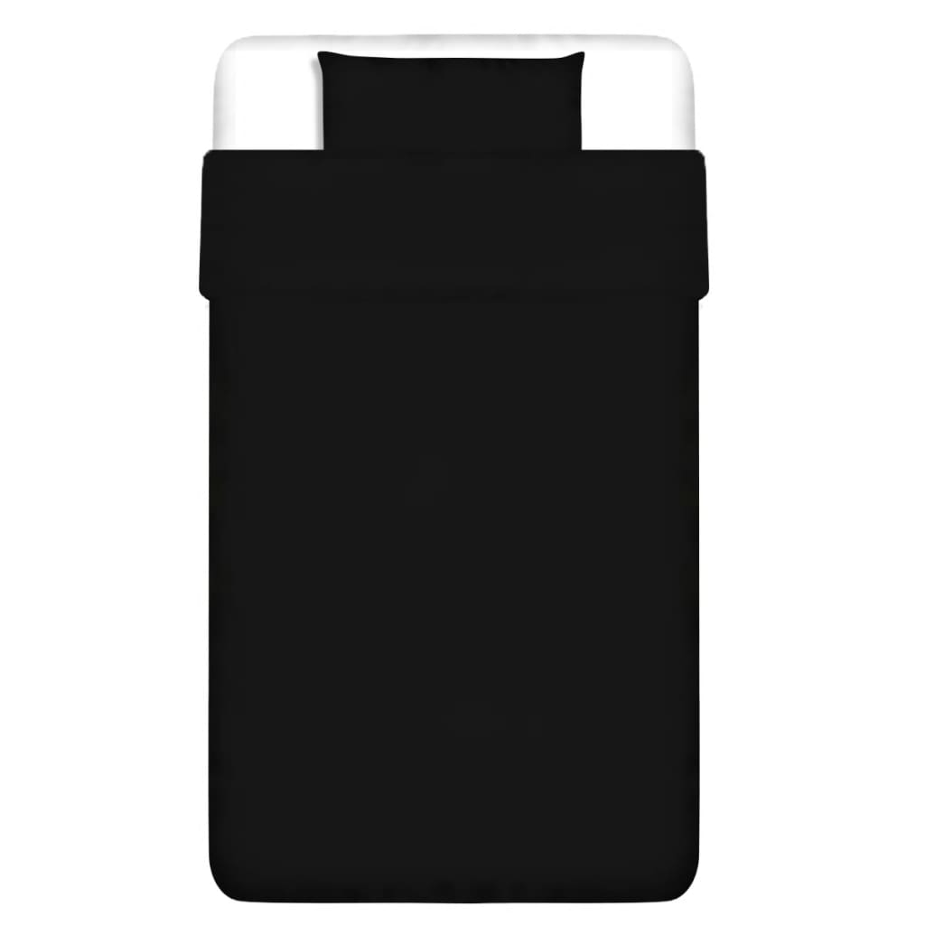 vidaXL Dvojdílná bavlněná sada povlečení černá 155x200/60x70 cm