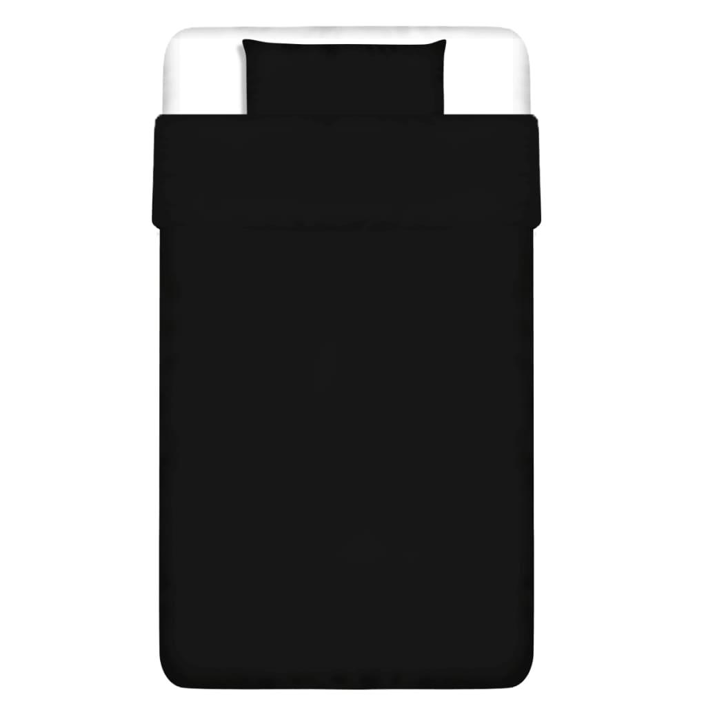 vidaXL Dvojdílná bavlněná sada povlečení černá 155x220/60x70 cm