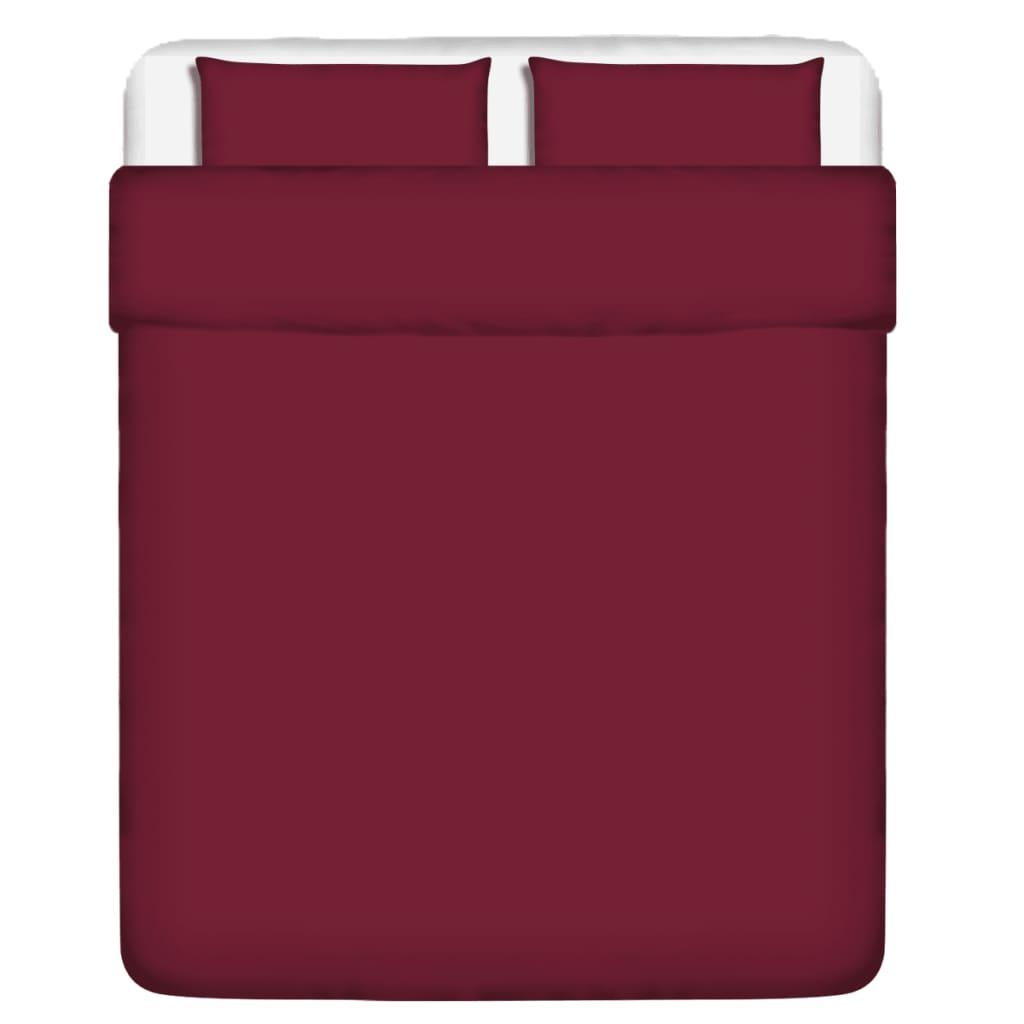 vidaXL Třídílná bavlněná sada povlečení vínová 200x200/60x70 cm
