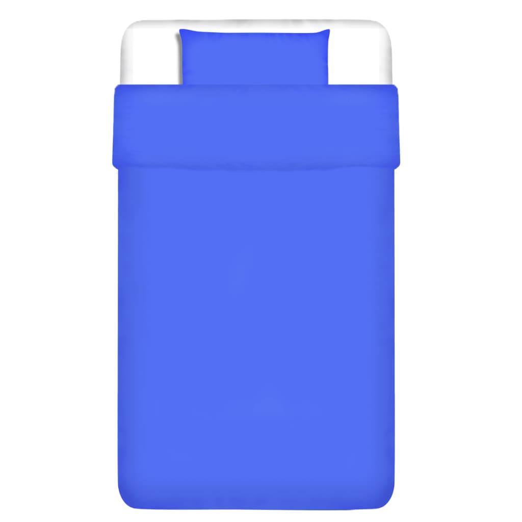 vidaXL Dvojdílná bavlněná sada povlečení modrá 135x200/80x80 cm