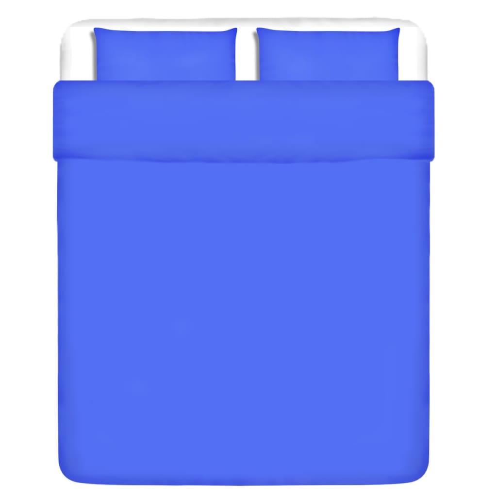vidaXL Set husă pilotă, albastru, bumbac, 200 x 200/80 x 80 cm vidaxl.ro