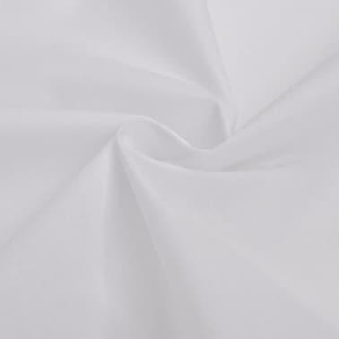 vidaXL Set husă pilotă din bumbac, 200 x 200/80 x 80 cm, alb, 3 piese[2/4]