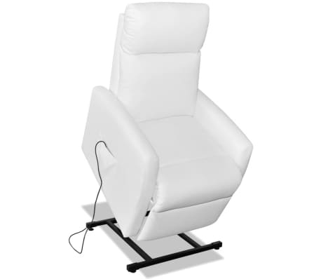 2-Position Electric TV Recliner Lift Chair White Artificial Leather[4/9]