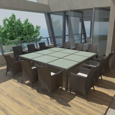 Vidaxl 13 Piece Outdoor Dining Set With Cushions Poly Rattan
