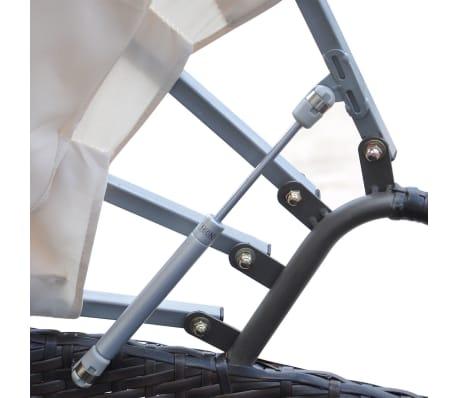 vidaXL Vrtna ležaljka s baldahinom poliratan smeđa[4/5]