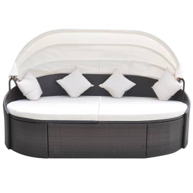 vidaXL Lauko gultas su pagalvėlėmis, poliratanas, rudas[2/5]