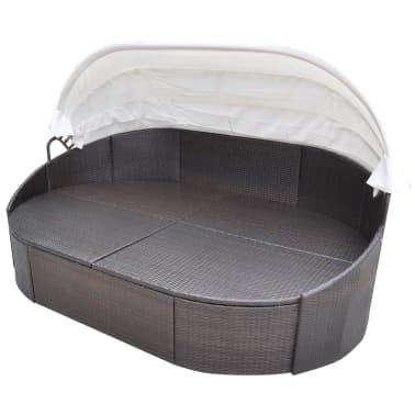 vidaXL Lauko gultas su pagalvėlėmis, poliratanas, rudas[3/5]