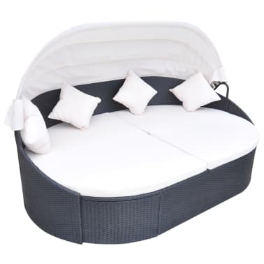 vidaXL Outdoor Lounge Bed with Canopy Poly Rattan Black[1/5]