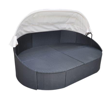 acheter vidaxl chaise longue avec auvent et coussin noir r sine tress e pas cher. Black Bedroom Furniture Sets. Home Design Ideas