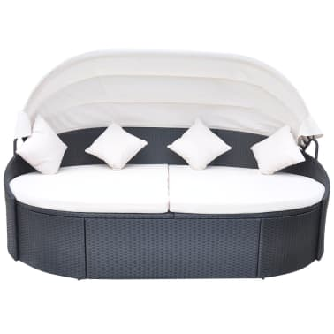 vidaXL Outdoor Lounge Bed with Canopy Poly Rattan Black[2/5]