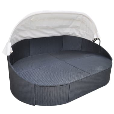 vidaXL Outdoor Lounge Bed with Canopy Poly Rattan Black[3/5]