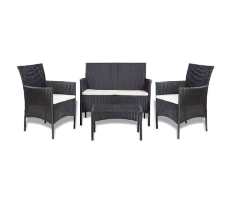vidaXL 4 Piece Garden lounge Set with Cushions Poly Rattan Black[2/10]