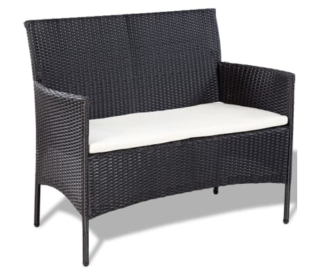 vidaXL 4 Piece Garden lounge Set with Cushions Poly Rattan Black[6/10]