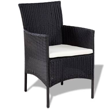 vidaXL 4 Piece Garden lounge Set with Cushions Poly Rattan Black[4/10]