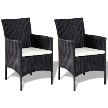 vidaXL 4 Piece Garden lounge Set with Cushions Poly Rattan Black[5/10]