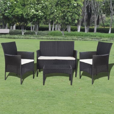 vidaXL 4 Piece Garden lounge Set with Cushions Poly Rattan Black[1/10]