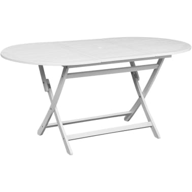vidaXL Outdoor Dining Table White Acacia Wood Oval[1/5]